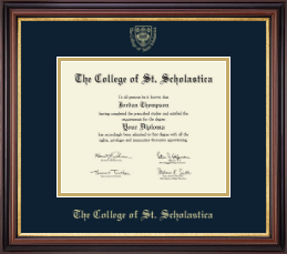 The College of St. Scholastica Diploma Frame - Gold Embossed Diploma Frame in Regency Gold