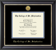 The College of St. Scholastica Diploma Frame - Gold Engraved Medallion Diploma Frame in Noir