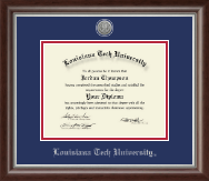 Louisiana Tech University Diploma Frame - Silver Engraved Medallion Diploma Frame in Devonshire