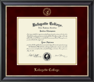 Lafayette College Diploma Frame - Gold Embossed Diploma Frame in Noir