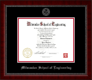 Milwaukee School of Engineering Diploma Frame - Silver Embossed Diploma Frame in Sutton