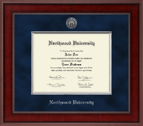 Northwood University in Michigan Diploma Frame - Presidential Silver Engraved Diploma Frame in Jefferson