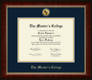 The Master's College Diploma Frame - Gold Engraved Medallion Diploma Frame in Murano