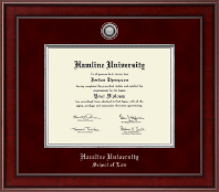Hamline University Diploma Frame - Presidential Silver Engraved Diploma Frame in Jefferson