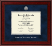 Concordia University in Nebraska Diploma Frame - Presidential Silver Engraved Diploma Frame in Jefferson