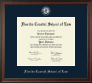 Florida Coastal School of Law Diploma Frame - Silver Embossed Diploma Frame in Studio