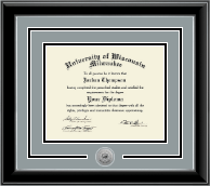 University of Wisconsin-Milwaukee Diploma Frame - Silver Engraved Medallion Diploma Frame in Onyx Silver