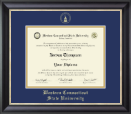 Western Connecticut State University Diploma Frame - Gold Embossed Diploma Frame in Noir
