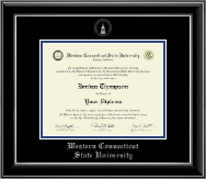 Western Connecticut State University Diploma Frame - Silver Embossed Diploma Frame in Onyx Silver