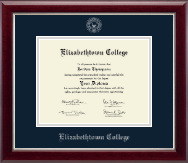 Elizabethtown College Diploma Frame - Silver Embossed Diploma Frame in Gallery Silver