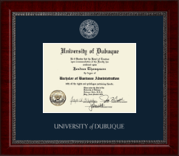 University of Dubuque Diploma Frame - Silver Embossed Diploma Frame in Sutton