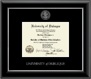 University of Dubuque Diploma Frame - Silver Embossed Diploma Frame in Onyx Silver