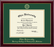 Ohio University Diploma Frame - Gold Embossed Diploma Frame in Gallery