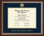 Thomas M. Cooley Law School Diploma Frame - Gold Engraved Medallion Diploma Frame in Hampshire