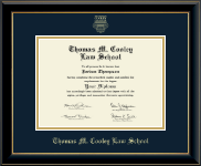 Thomas M. Cooley Law School Diploma Frame - Gold Embossed Diploma Frame in Onyx Gold