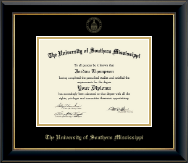 The University of Southern Mississippi Diploma Frame - Gold Embossed Diploma Frame in Onyx Gold