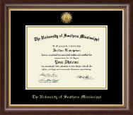 The University of Southern Mississippi Diploma Frame - Gold Engraved Medallion Diploma Frame in Hampshire