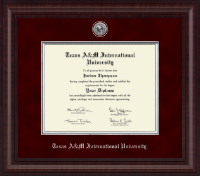 Texas A&M International University in Laredo Diploma Frame - Presidential Silver Engraved Diploma Frame in Premier