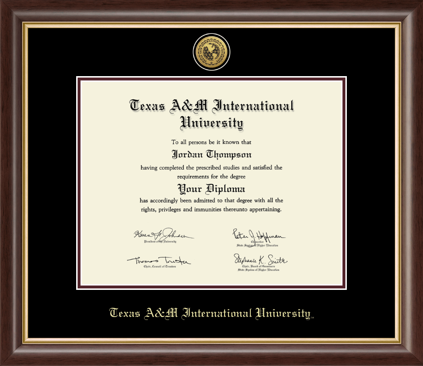 Texas A&M International University in Laredo Gold Engraved Medallion ...