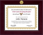 The International School of Clairvoyance Century Gold Engraved Certificate Frame in Cordova