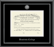 Bowdoin College Diploma Frame - Silver Engraved Medallion Diploma Frame in Onyx Silver