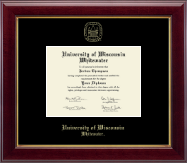 University of Wisconsin Whitewater Diploma Frame - Gold Embossed Diploma Frame in Gallery