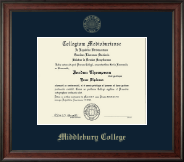 Middlebury College Diploma Frame - Gold Embossed Diploma Frame in Studio