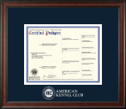 American Kennel Club Certificate Frame - Silver Embossed Pedigree Frame in Studio