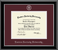 Eastern Kentucky University Diploma Frame - Silver Embossed Diploma Frame in Onyx Silver
