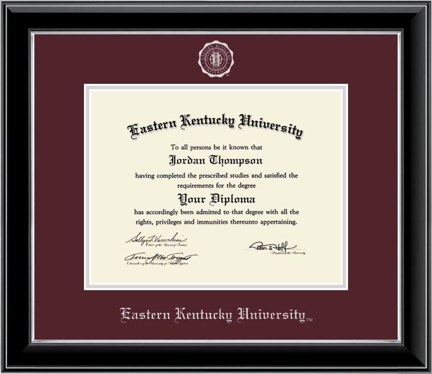 Eastern Kentucky University Silver Embossed Diploma Frame in Onyx ...