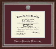 Eastern Kentucky University Diploma Frame - Silver Engraved Medallion Diploma Frame in Devonshire