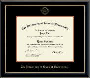 University of Texas at Brownsville Diploma Frame - Gold Embossed Diploma Frame in Onyx Gold