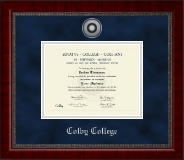 Colby College Diploma Frame - Silver Engraved Medallion Diploma Frame in Sutton