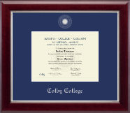 Colby College Diploma Frame - Silver Embossed Diploma Frame in Gallery Silver
