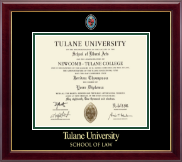 Tulane University Diploma Frame - Masterpiece Medallion Diploma Frame in Gallery
