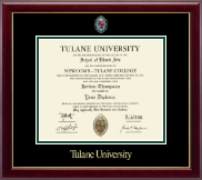 Tulane University Diploma Frame - Masters/PhD - Masterpiece Medallion Diploma Frame in Gallery