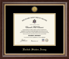 United States Army Diploma Frame - Gold Engraved Medallion Certificate Frame in Hampshire