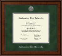 Northeastern State University Tahlequah Diploma Frame - Masters - Presidential Silver Engraved Diploma Frame in Madison