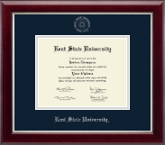 Kent State University Diploma Frame - Silver Embossed Diploma Frame in Gallery Silver