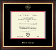 Wells College Diploma Frame - Gold Embossed Diploma Frame in Studio Gold