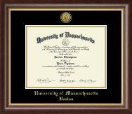 University of Massachusetts Boston Diploma Frame - Gold Engraved Medallion Diploma Frame in Hampshire