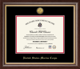 United States Marine Corps Certificate Frame - Gold Engraved Medallion Certificate Frame in Hampshire