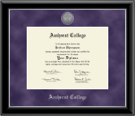 Amherst College Diploma Frame - Silver Engraved Medallion Diploma Frame in Onyx Silver
