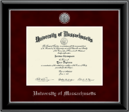 University of Massachusetts Amherst Diploma Frame - Silver Engraved Medallion Diploma Frame in Onyx Silver