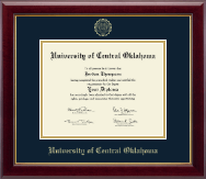 University of Central Oklahoma Diploma Frame - Gold Embossed Diploma Frame in Gallery