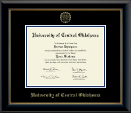 University of Central Oklahoma Diploma Frame - Gold Embossed Diploma Frame in Onyx Gold