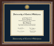 University of Central Oklahoma Diploma Frame - Gold Engraved Medallion Diploma Frame in Hampshire