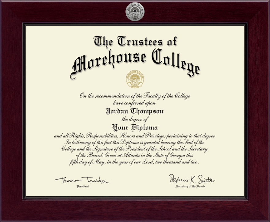 Morehouse College Century Silver Engraved Diploma Frame In