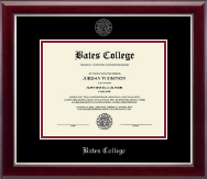 Bates College Diploma Frame - Silver Embossed Diploma Frame in Gallery Silver