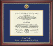 State University of New York  New Paltz Diploma Frame - Gold Engraved Medallion Diploma Frame in Kensington Gold